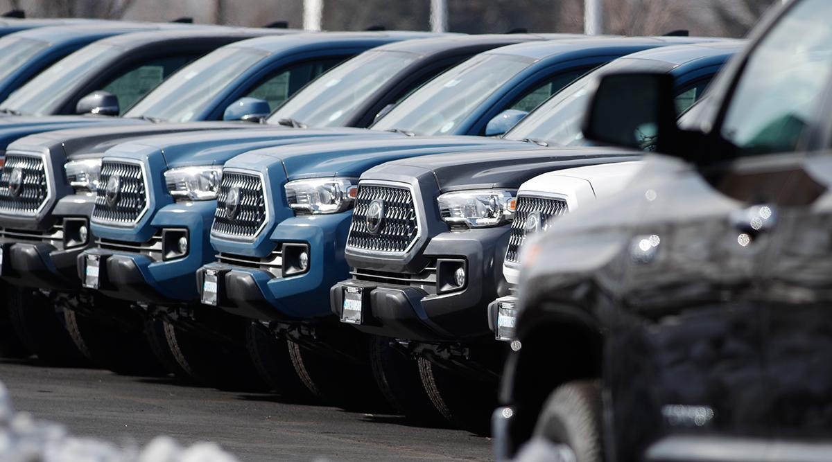 Toyota Tacoma pickup trucks sit at a Colorado dealership