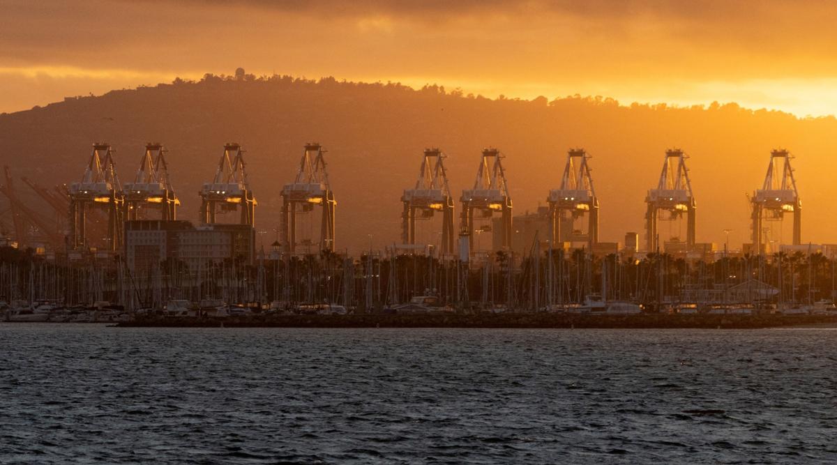 Gantry cranes sit at the Port of Long Beach in California. (Bing Guan/Bloomberg News)