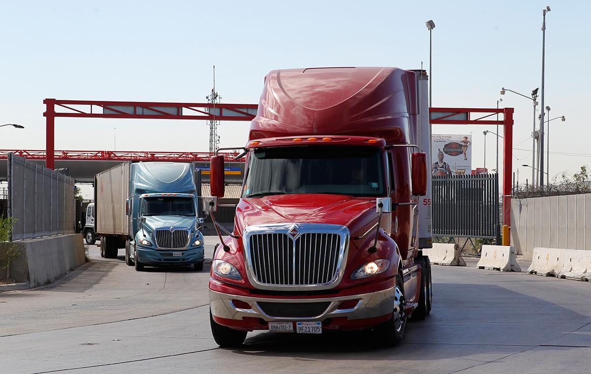 Trucks at the U.S.-Mexico border at Otay Mesa