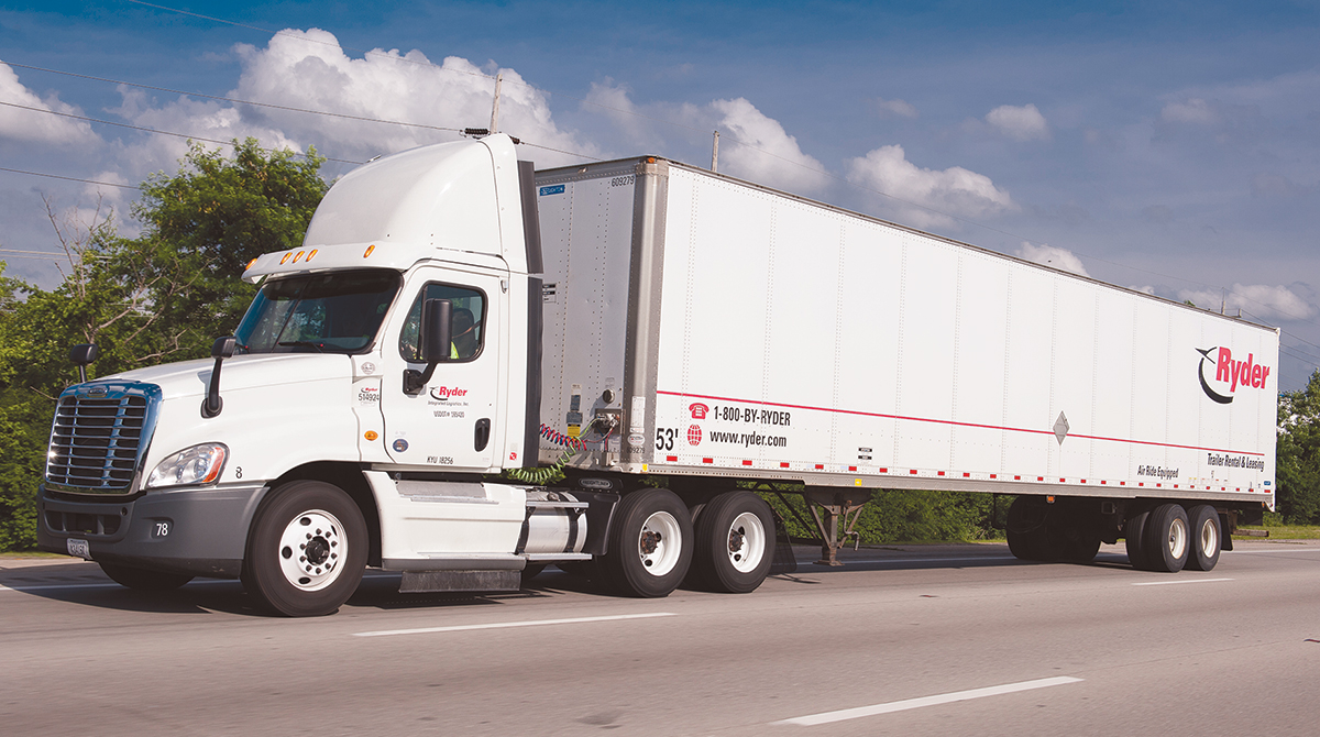 Ryder truck with 53-foot trailer