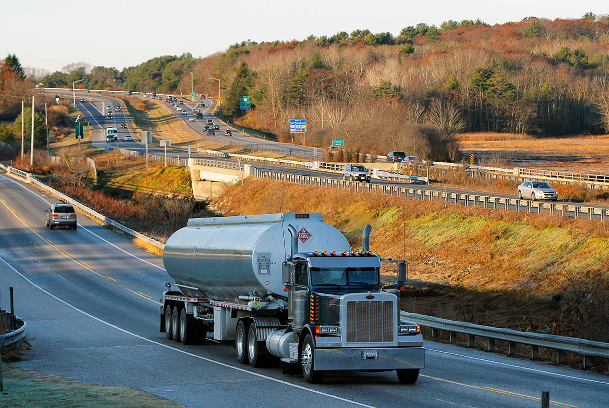 A tanker truck travels near Yarmouth, Maine