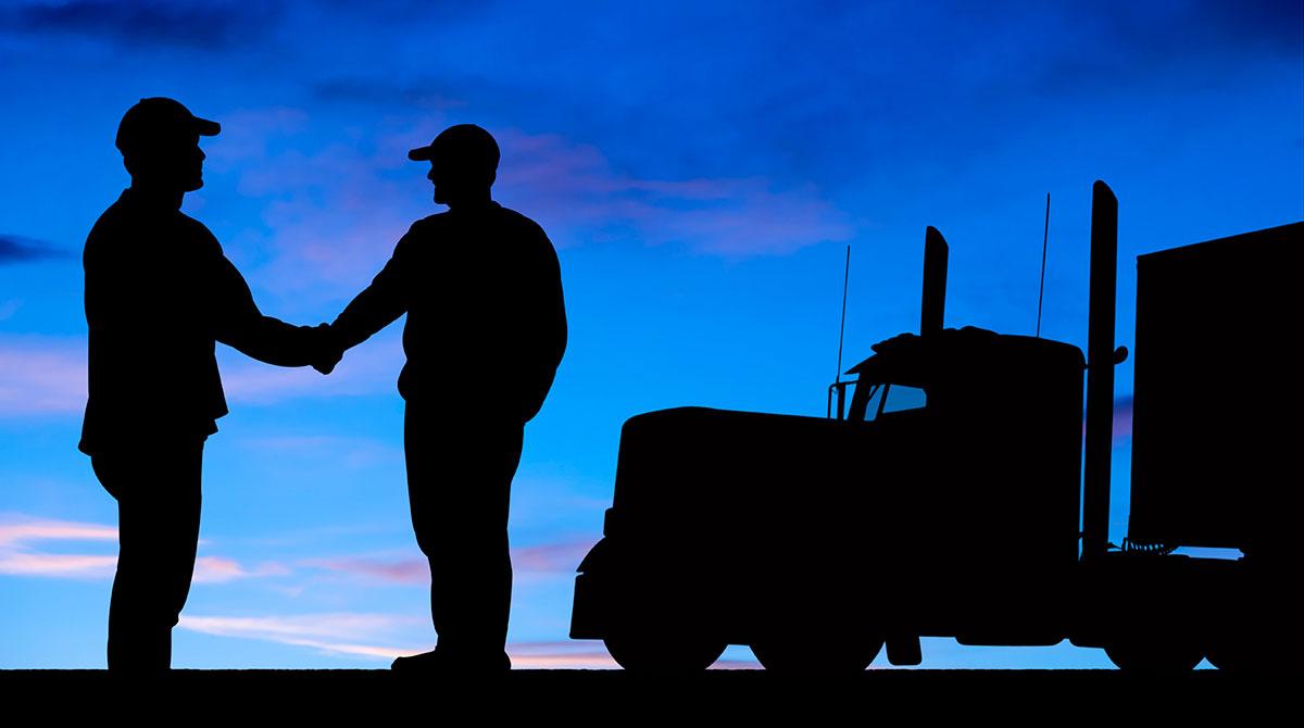 Truck drivers handshake