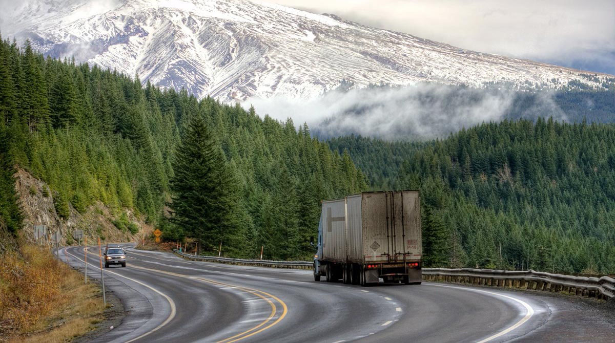 Truck on an Oregon highway
