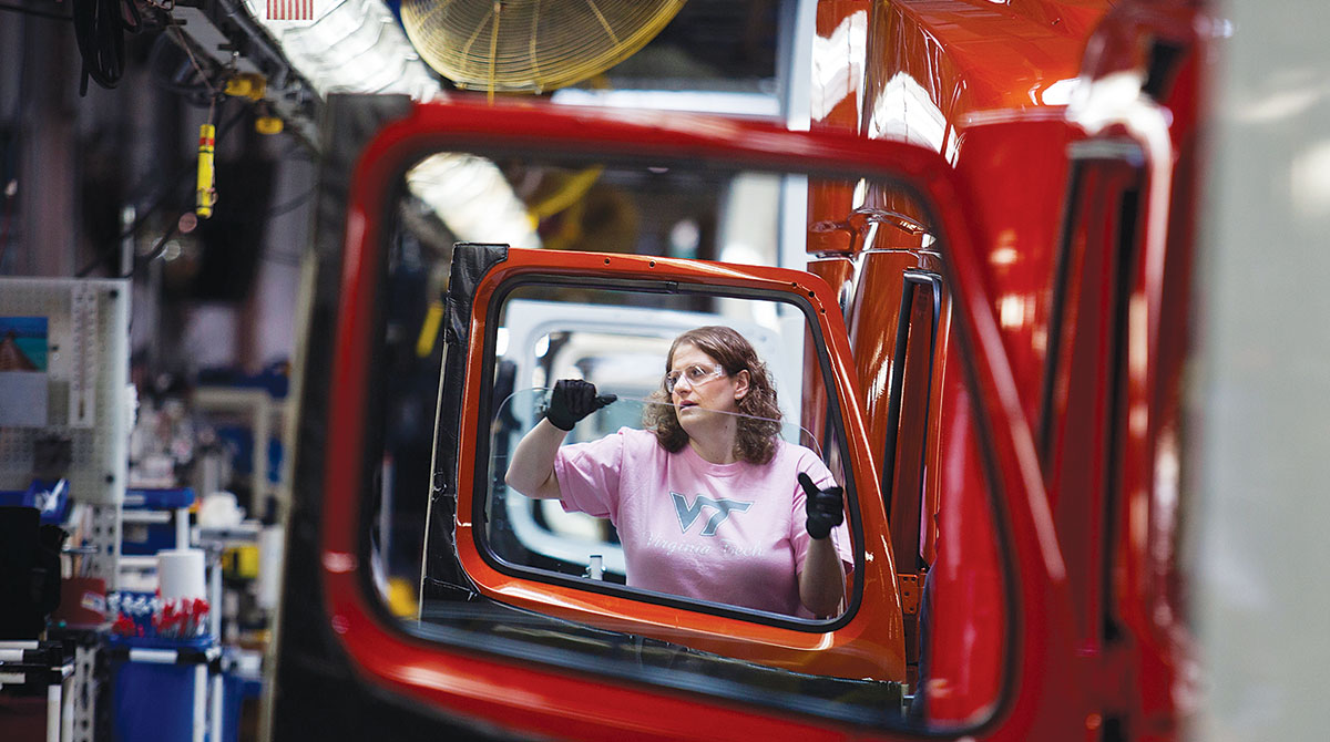 Volvo trucks on the assembly line