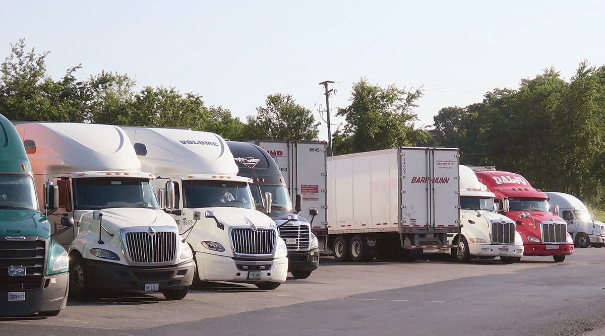 Trucks parked at a rest area by Peggy Smith