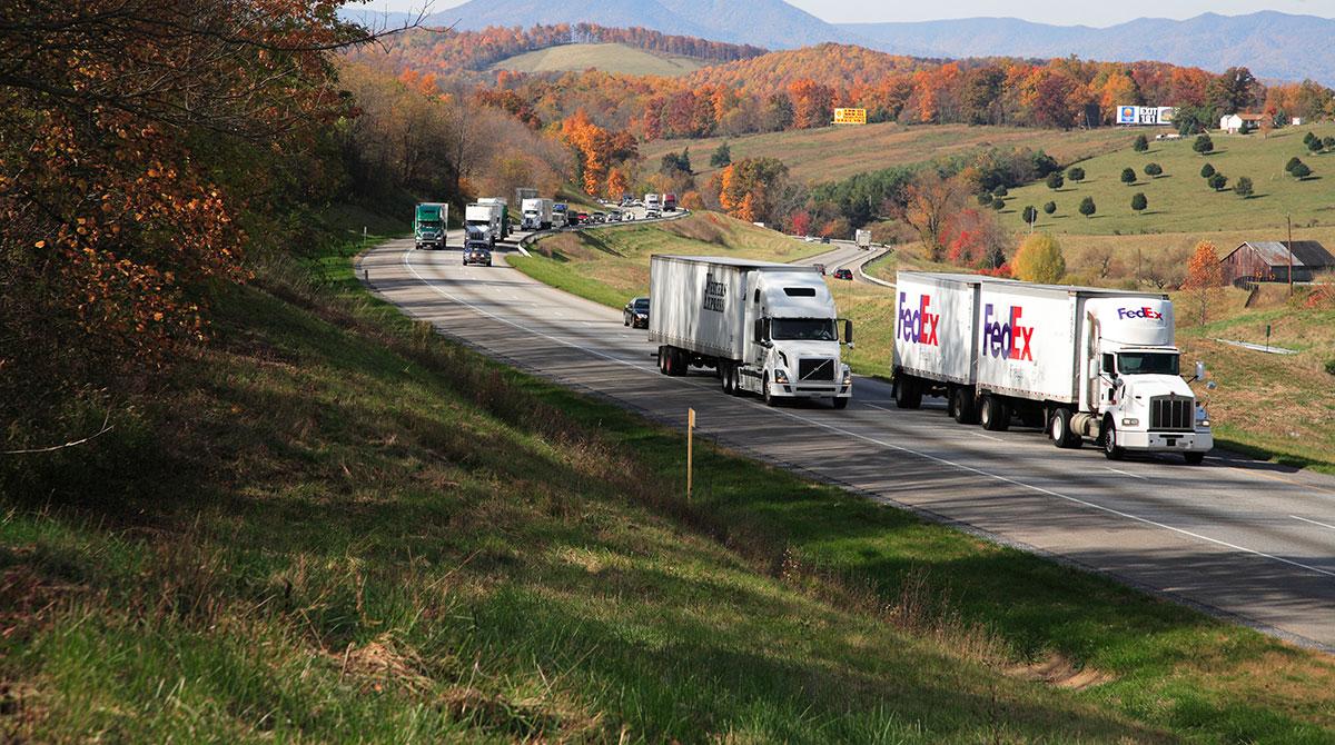 Trucks on a Virginia highway