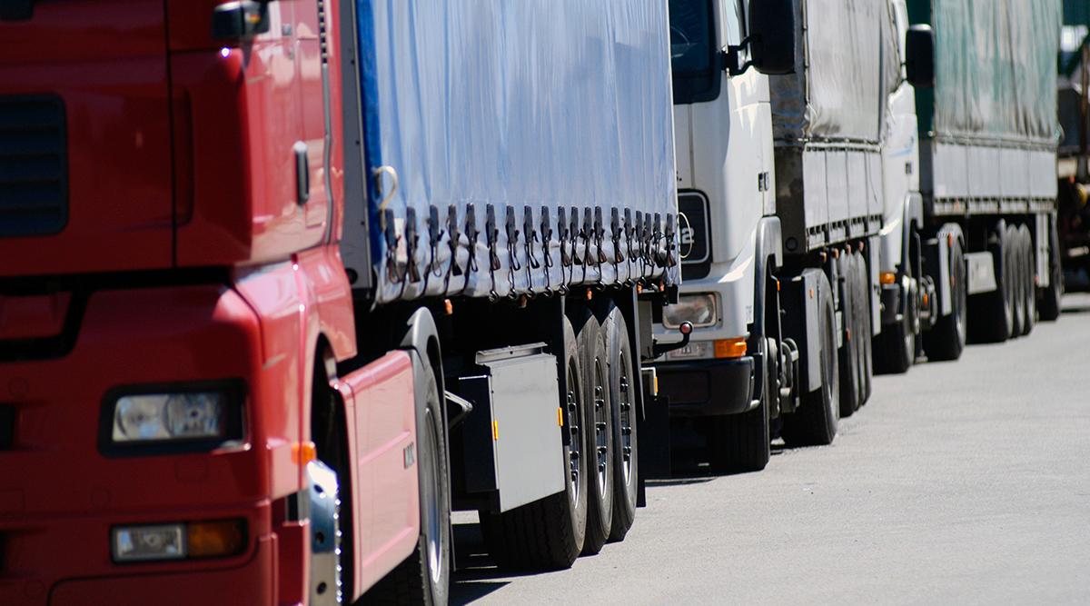 Trucks in a line