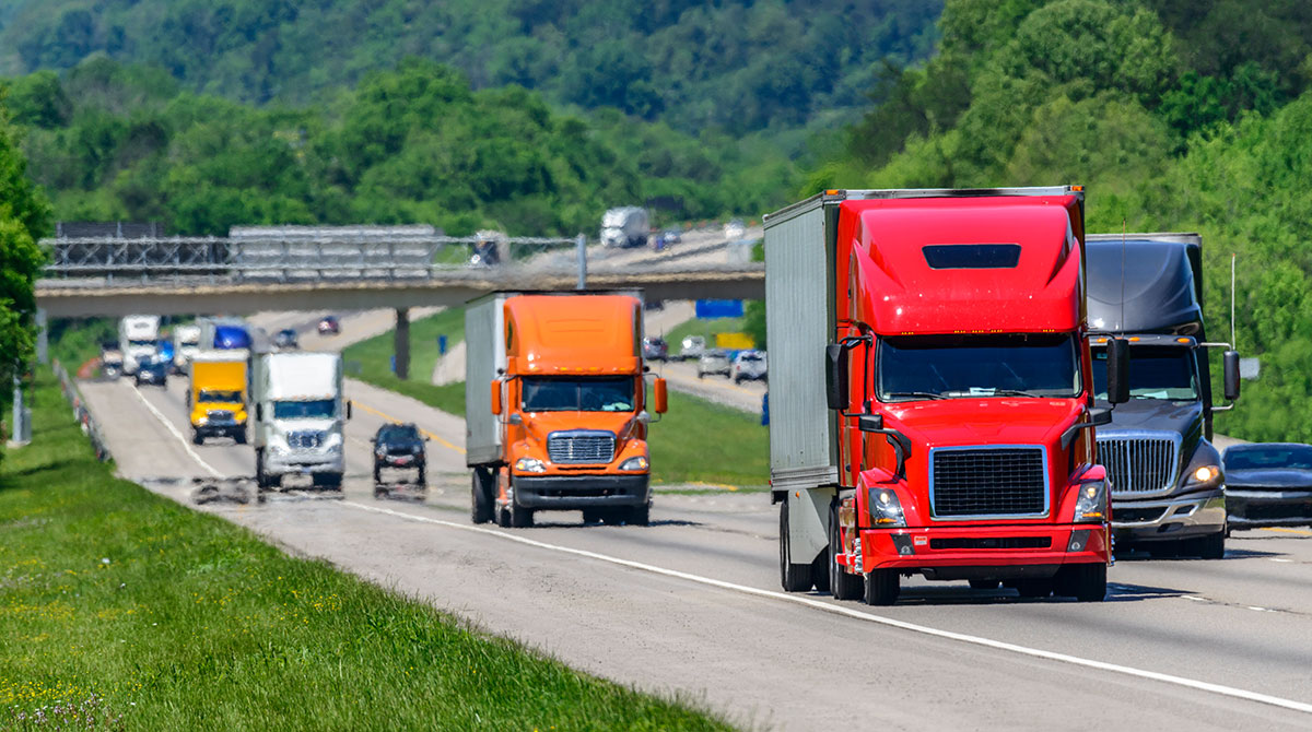 A steady flow of tractor-trailers