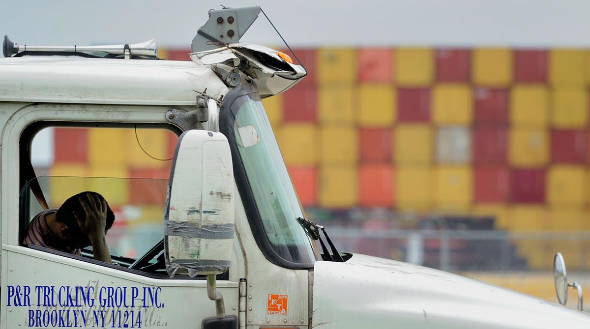 Driver waits at Port Newark