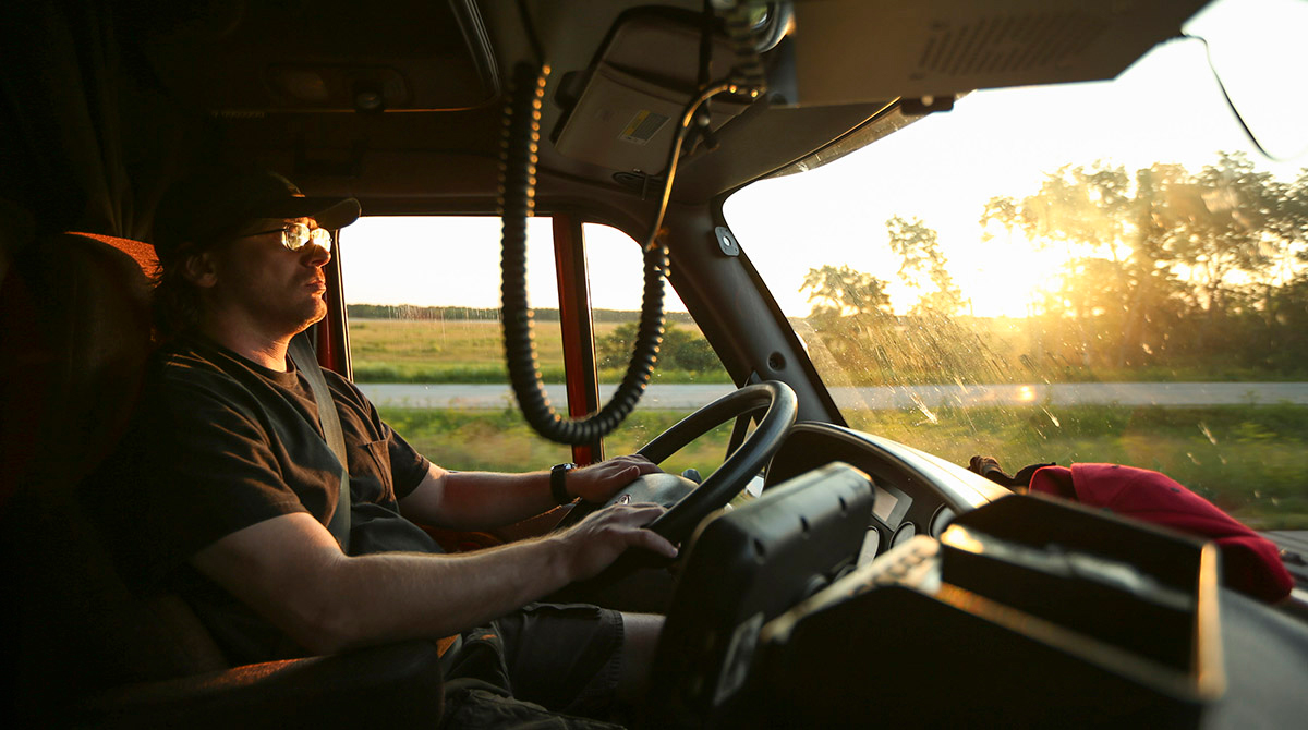 Truck driver on Interstate 90