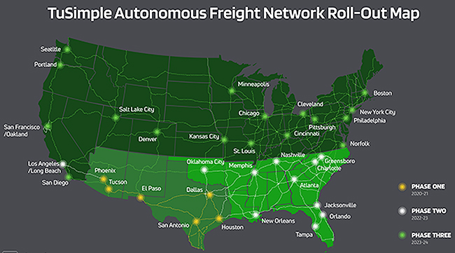 Map shows planned rollout of TuSimple's Autonomous Freight Network
