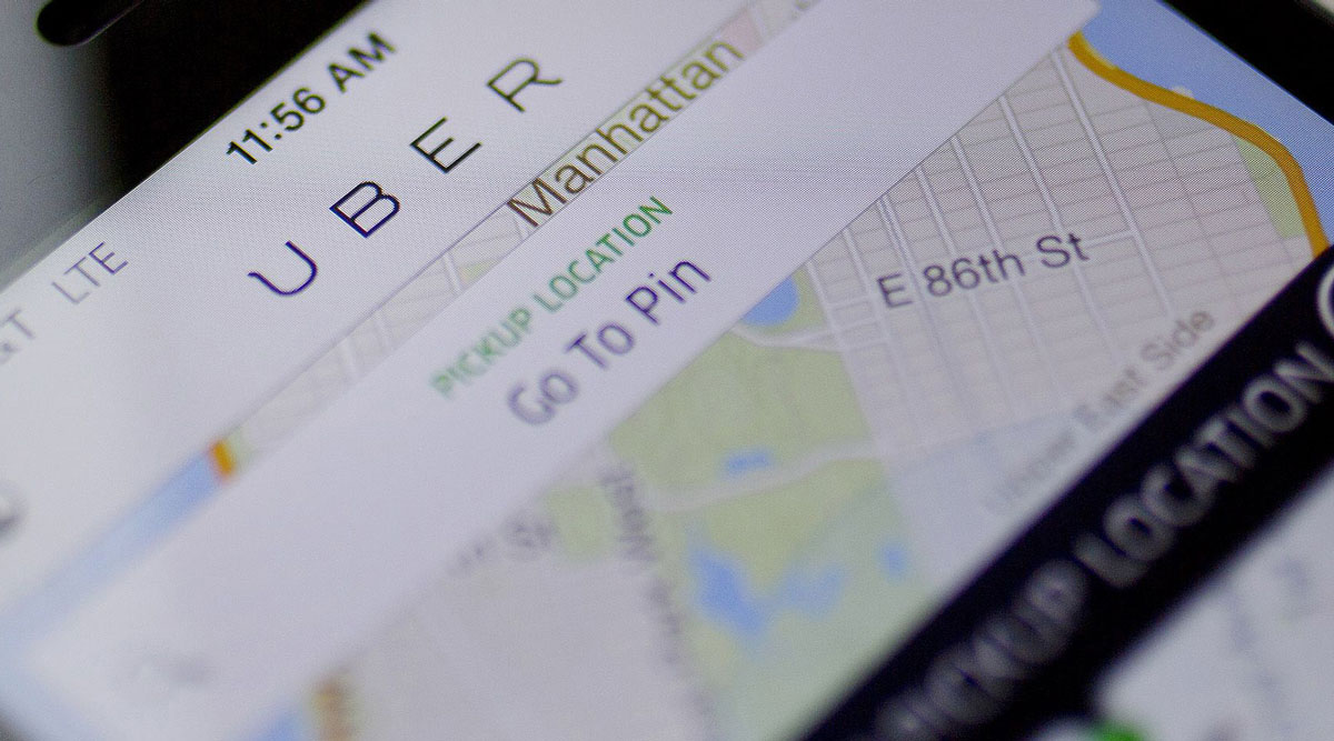 The Uber car service application.