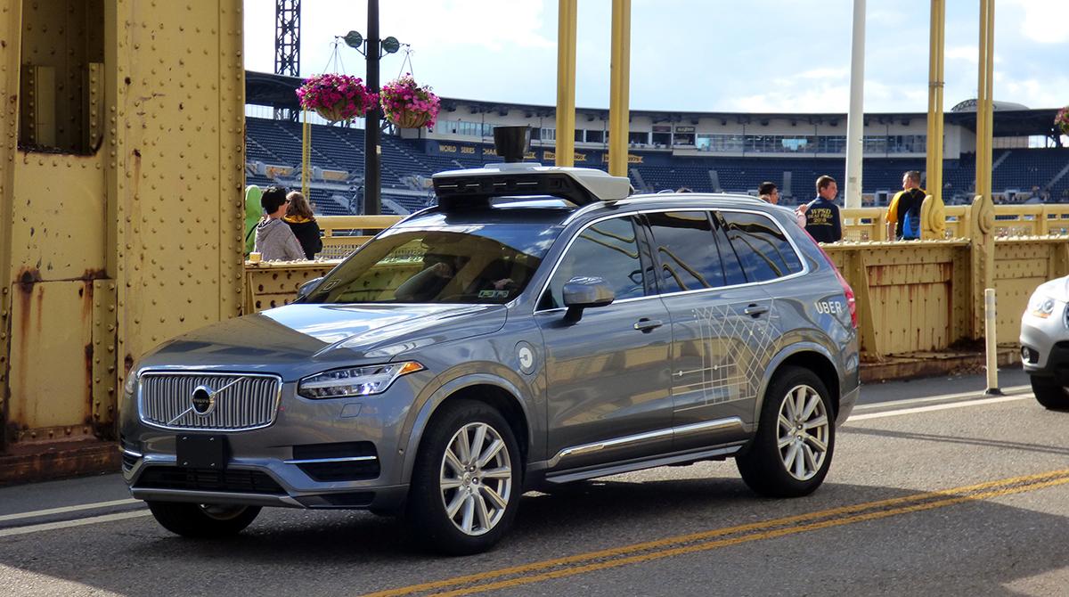 Autonomous Uber car in Pittsburgh