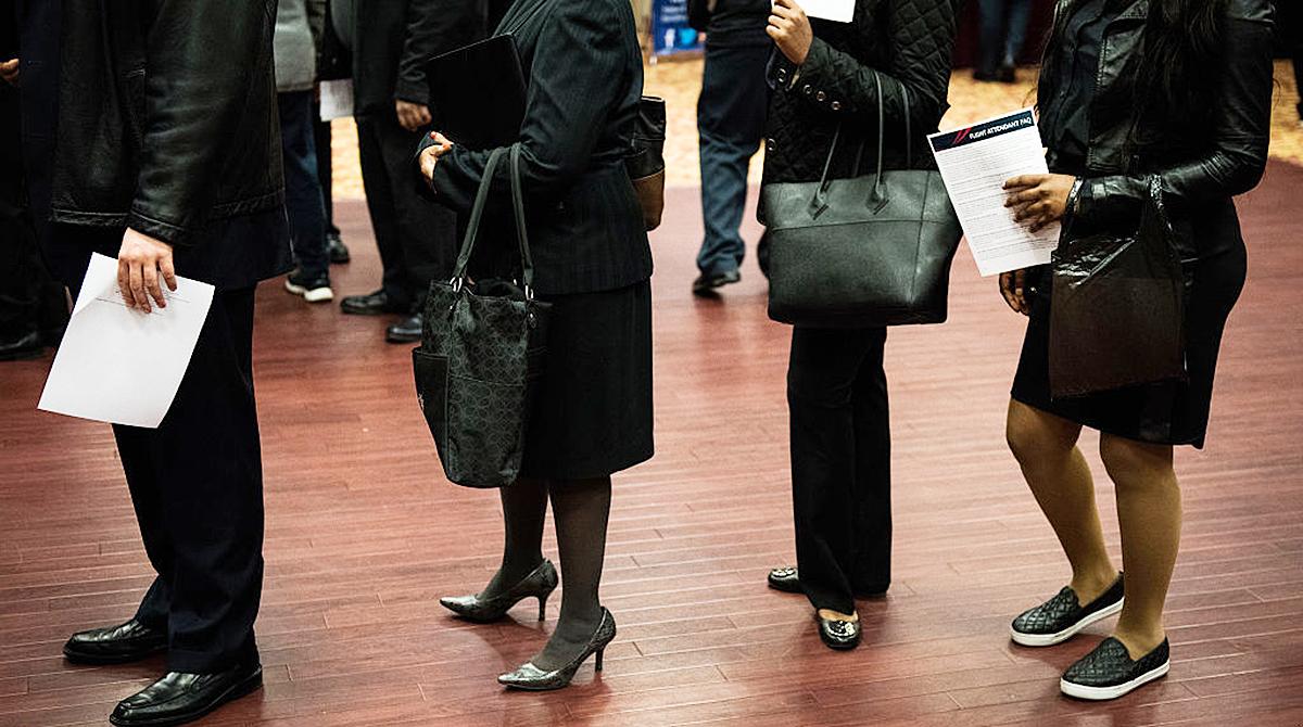 Job seekers at a career fair in New York
