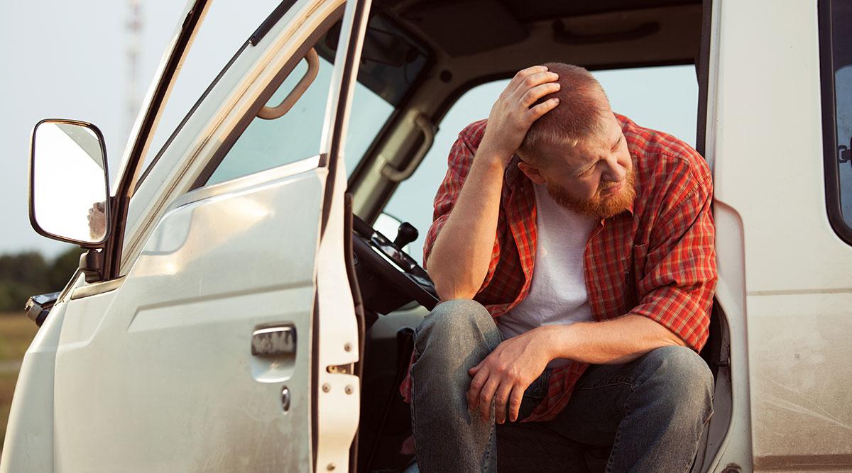 Unhappy truck driver