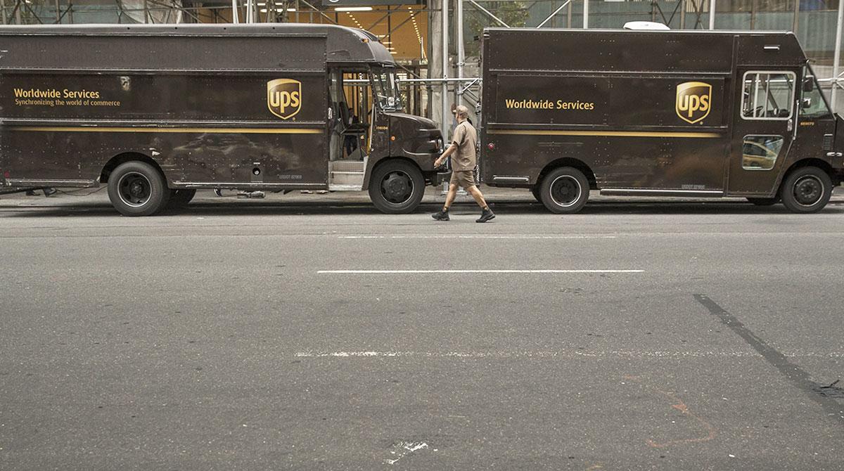 UPS trucks in New York City