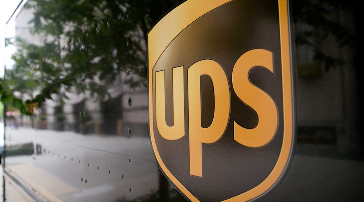Close-up photo of UPS truck and logo