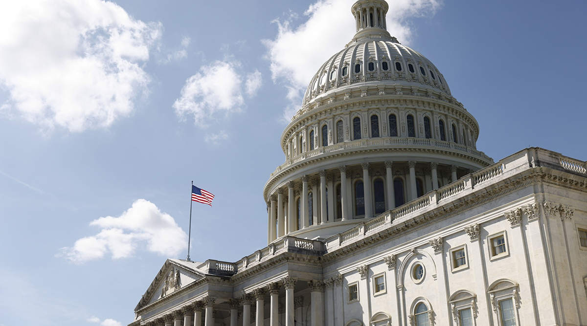 The American flag flies above the U.S. Capitol Monday.