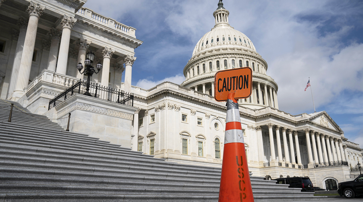 A caution sign outside the U.S. Capitol in Washington Sept. 21