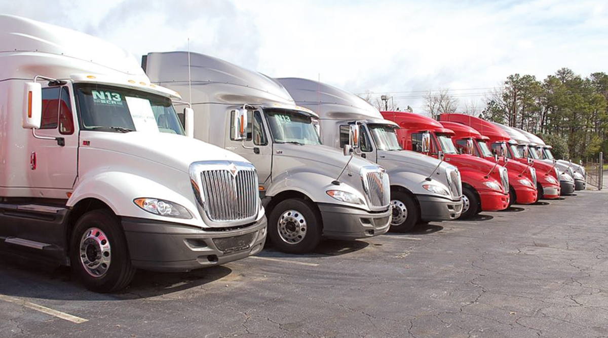 Used Class 8 trucks on a sales lot