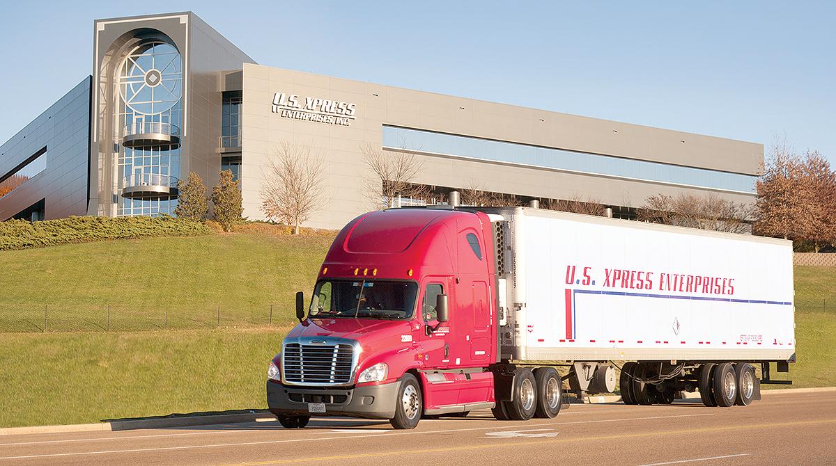 U.S. XPress truck drives by headquarters