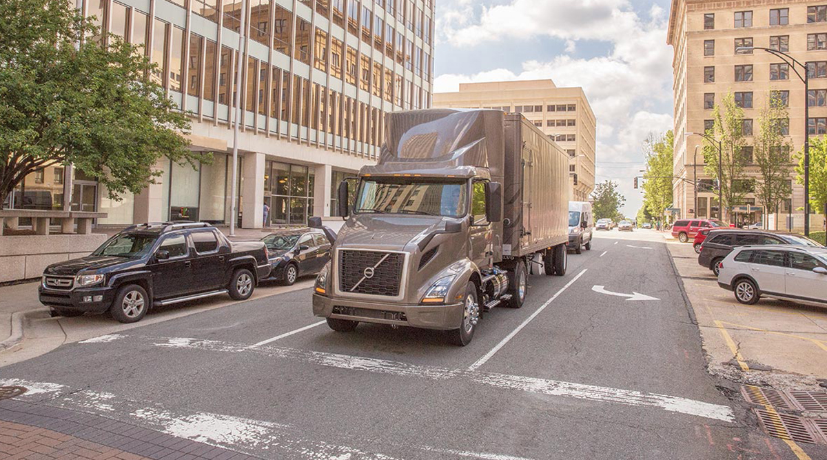 Volvo truck on a city street