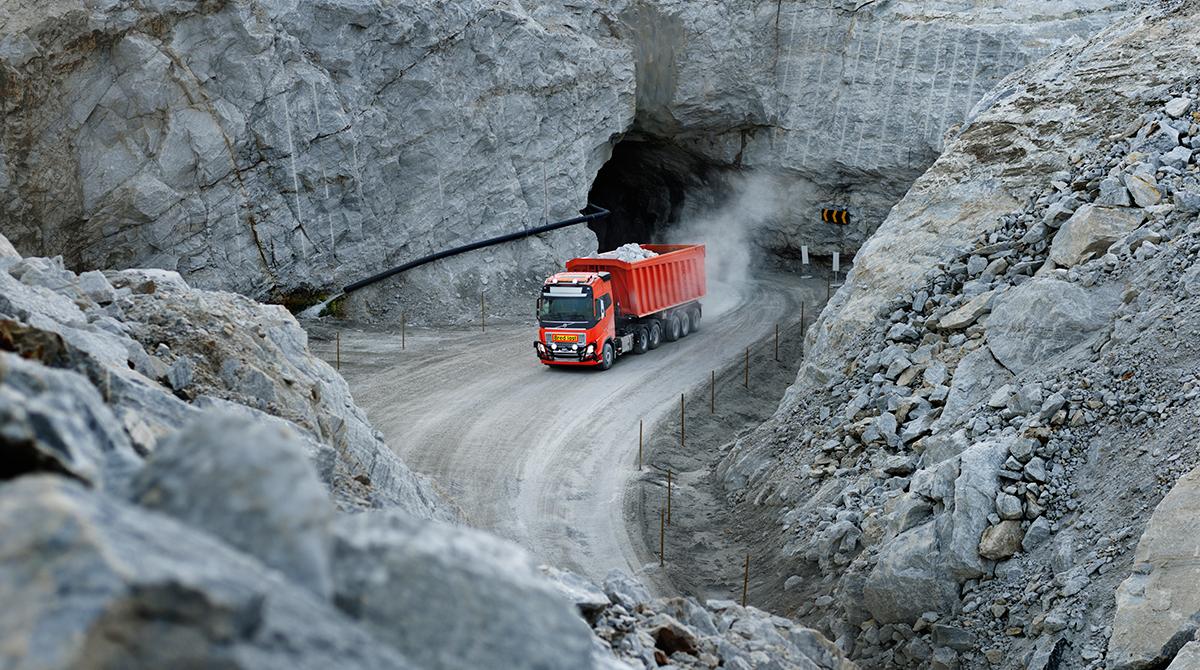 A Volvo FH works a quarry
