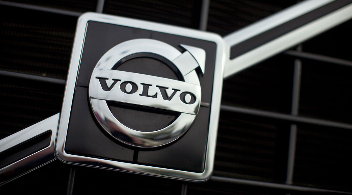 The Volvo logo is seen on the front grill of a truck at the company's New River Valley Plant in Virginia.