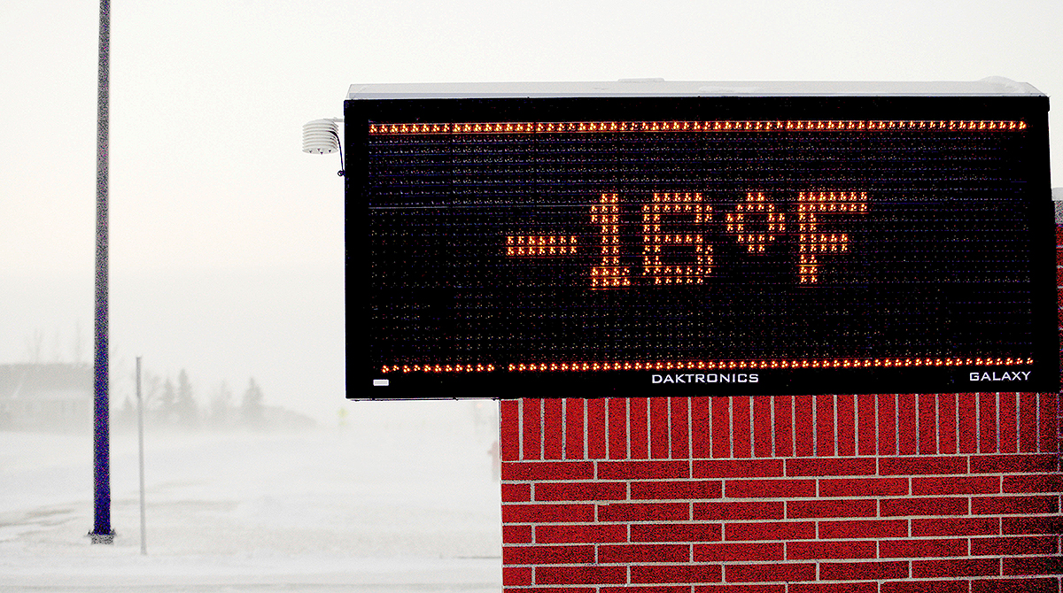 Bank sign showing -16 degrees