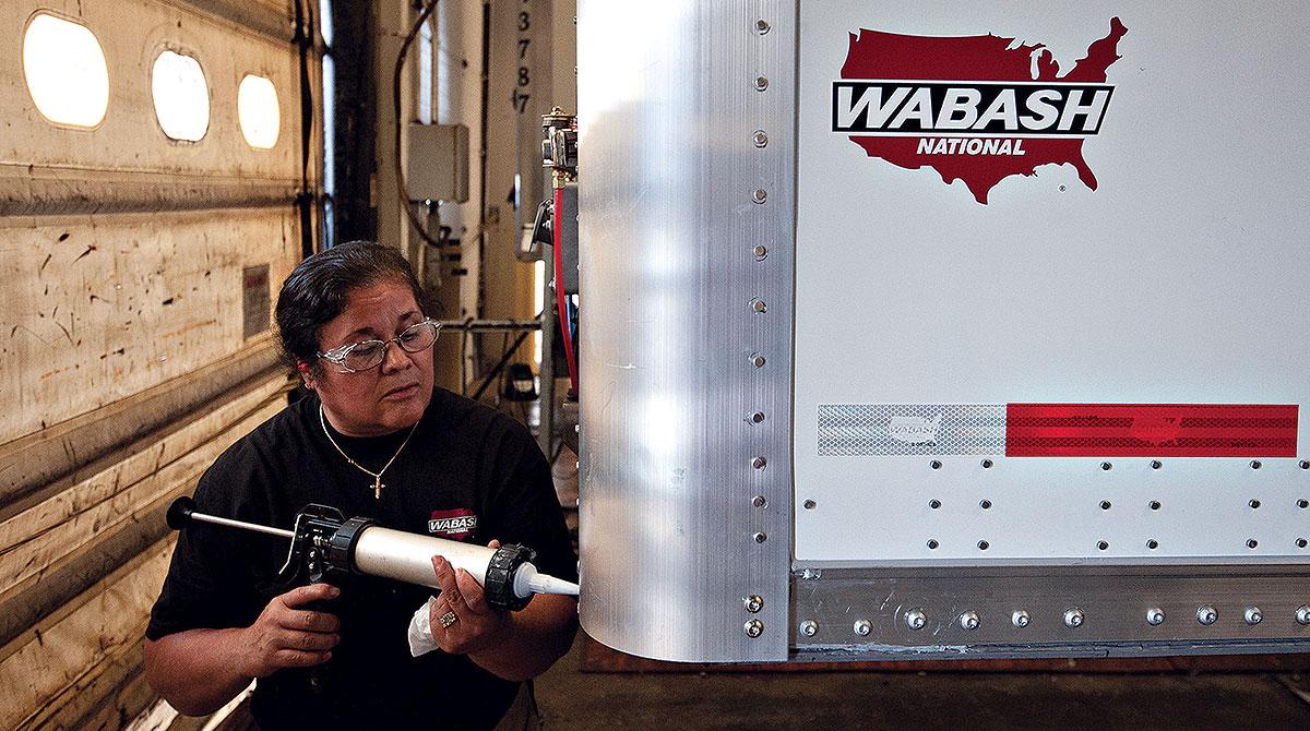 Worker at Wabash National plant