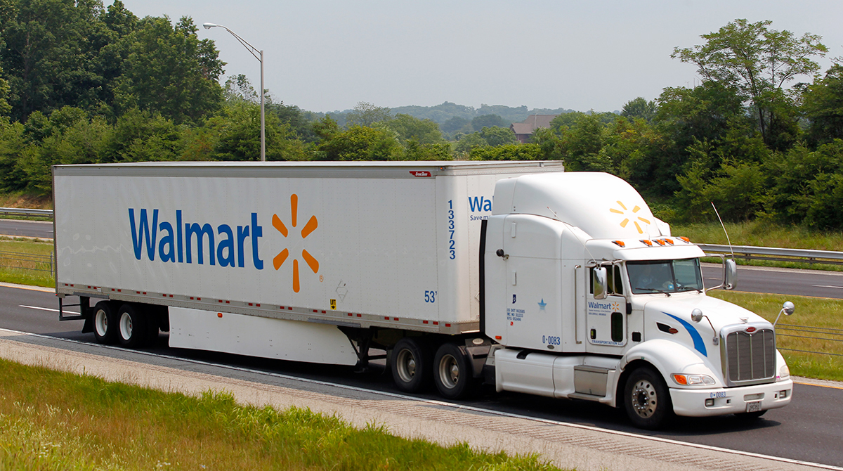 Walmart truck on highway