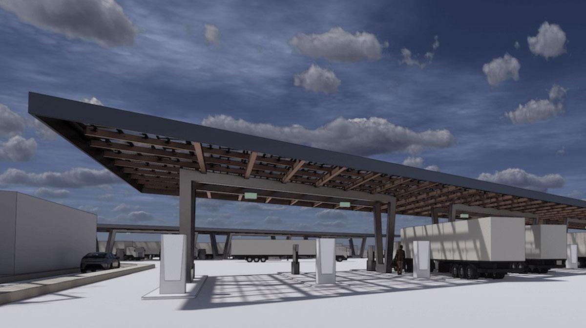 Rendering of WattEV solar-powered truck stop