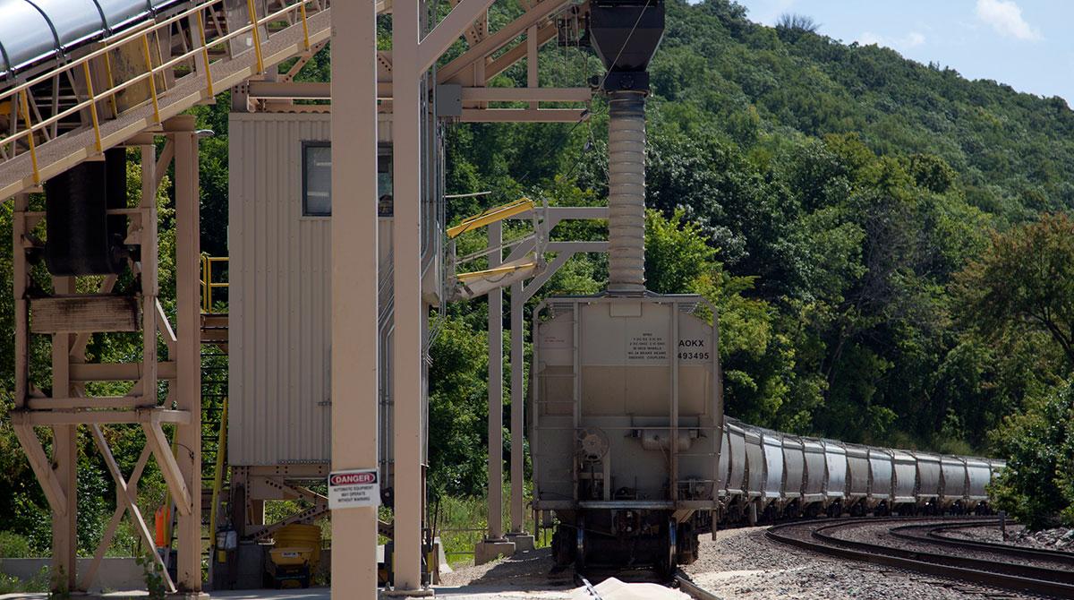 Wisconsin frac sand loaded onto a railcar