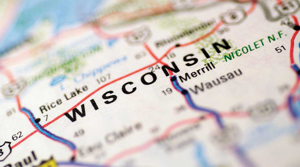 Wisconsin road map illustration