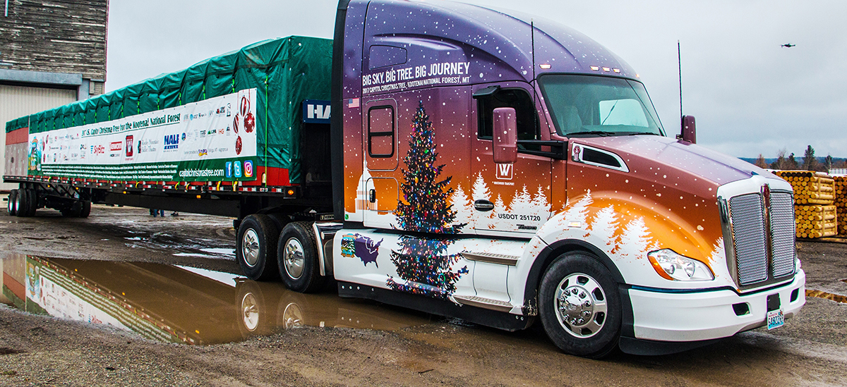 The 2017 Capitol Christmas tree is traveling on this specially decorated Kenworth T680