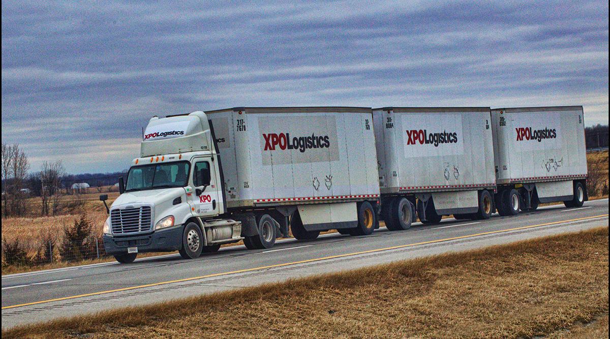 XPO Logistics triple trailer