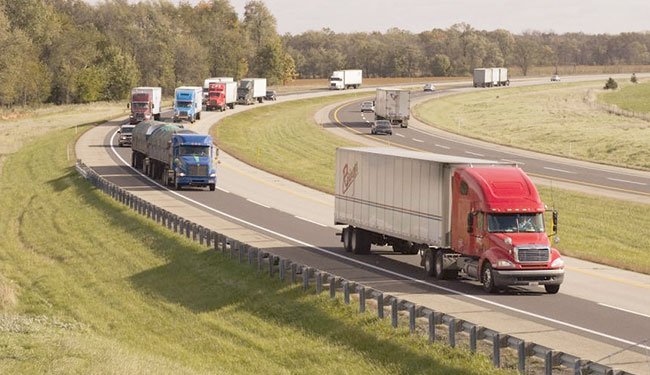 Trucks travel the Indiana Toll Road