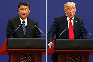 U.S. President Donald Trump, right, and Chinese President Xi Jinping