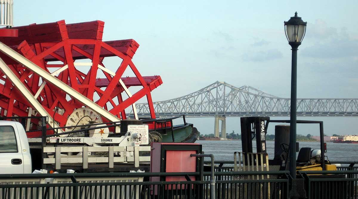 Louisiana paddle boat bridge New Orleans