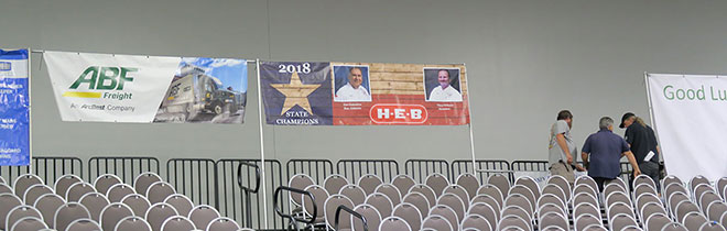 Banners in their places ahead of the competition