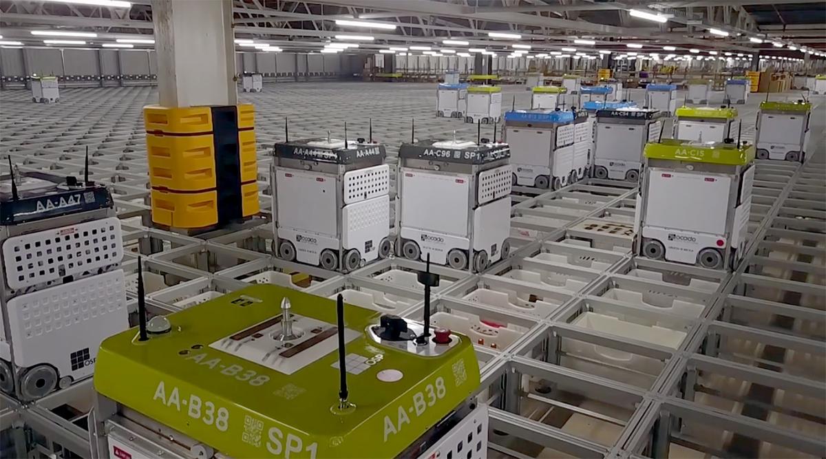 Ocado's warehouse robots