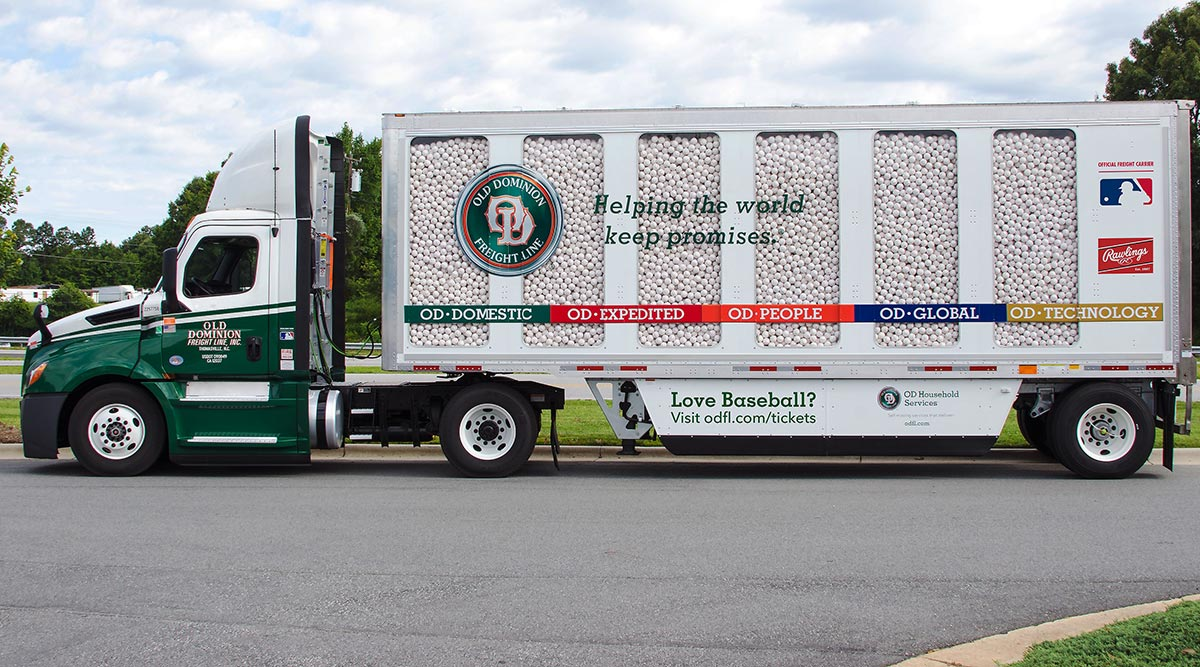 View of Old Dominion Freight Line's baseball-laden truck