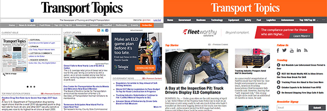 Comparing the old design of TTNews.com (left) to its award-winning look
