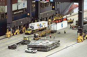 Shipping containers unloaded from a ship at Port Everglades
