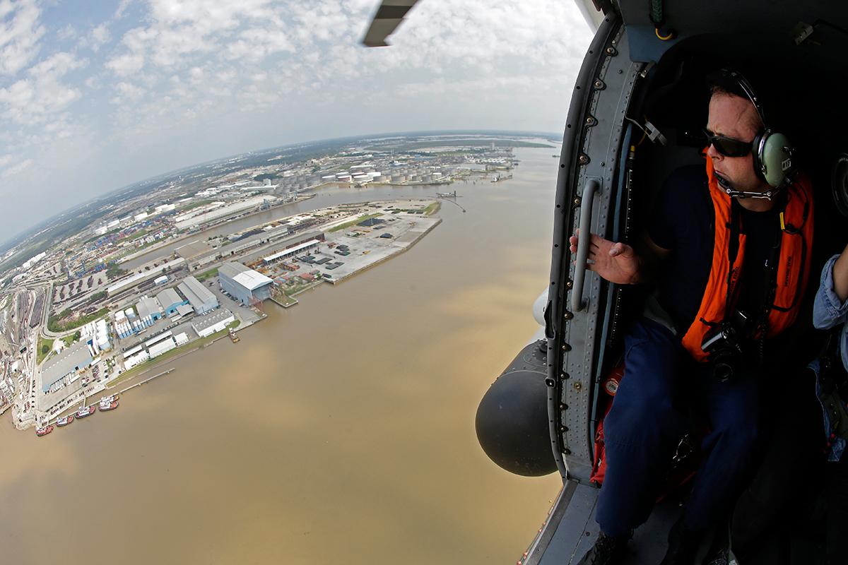 Coast Guardsman surveys Port Houston