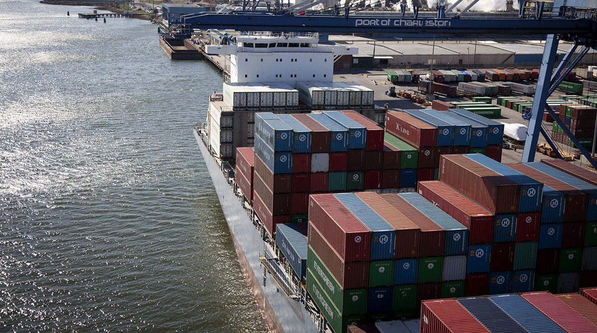 Containers sit stacked on a ship at the Port of Charleston in North Charleston, S.C.