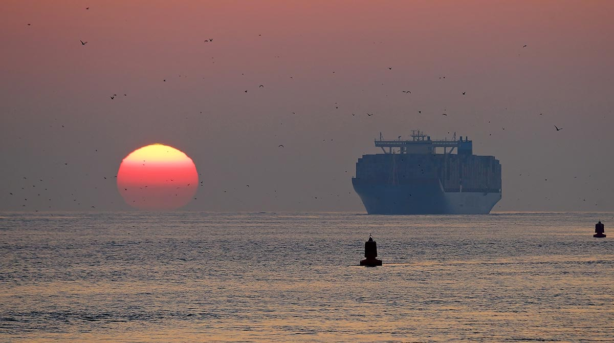 Maersk Ship at Sunset