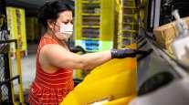 Amazon employee at a fulfillment center