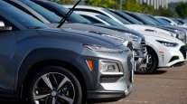 A line of 2020 Hyundai models sits in a storage lot in Colorado on Sept. 3.
