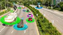 Autonomous vehicles on road concept